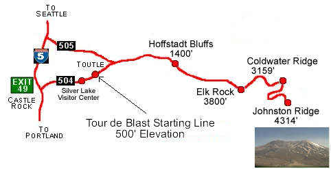 Map of the Tour de Blast route